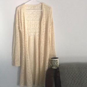 "Long Flowing Cardigan Crochet 38"" Long New"